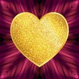 Het decoratieve Hart van het Ontwerpelement van Gouden schittert Geïsoleerd op P Stock Foto