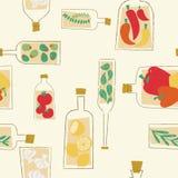 Het decoratieve naadloze patroon van keukenflessen stock illustratie