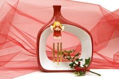 Het decoratieve plaatsen van Kerstmis met het zingen van engel Royalty-vrije Stock Afbeeldingen