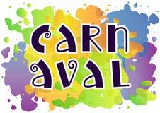 Het decoratieve van letters voorzien van Carnaval met wervelingen in donkerblauw op kleurrijke waterverfachtergrond stock illustratie