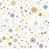 Het decoratieve vector naadloze patroon van de Kerstmistijd met de Winterachtergrond van gilde zwarte grijze snpwflakes royalty-vrije illustratie