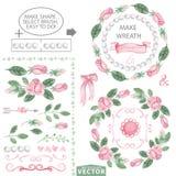 Het decorborstels van waterverf roze rozen en kroonmalplaatje vector illustratie
