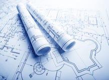 Een deel van architecturaal project stock afbeeldingen