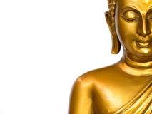 Het deel van standbeeld van gezichts het gouden antieke Boedha op de witte achtergrond isoleerde achtergrond Het gezicht van Boed stock afbeeldingen