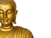 Het deel van standbeeld van gezichts het gouden antieke Boedha op de witte achtergrond isoleerde achtergrond Het gezicht van Boed royalty-vrije stock foto