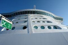 Het dek van de brug en van de helikopter op cruiseship Royalty-vrije Stock Foto
