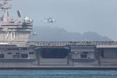 Het Dek van de vlucht van USS Carl Vinson Helicopter Stock Foto's