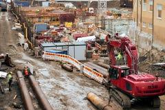 Het Dek van Tampere en de bouwwerf van het Arenaproject stock foto's