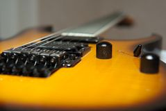 Het dekperspectief van de gitaar Stock Foto