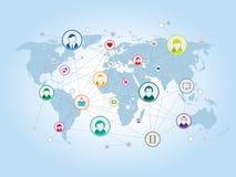 Het delen en sociaal netwerk op Internet Royalty-vrije Stock Afbeeldingen