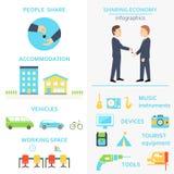 Het delen van de Reeks van Economieinfographics Stock Afbeeldingen