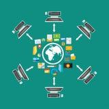 Het Delen van het dossier De overdracht van het dossier Netwerk Verdeelde inhoud smartphone surft op wolk in hemel Connectiviteit Royalty-vrije Stock Afbeelding