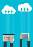 Het delen van of het synchroniseren van gegevens in de wolk Stock Fotografie