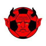 Het demon van de voetbalbal bal Rode duivel Vector illustratie stock illustratie