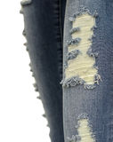 Het denim Jean scheurt de achtergrond van het randdetail Stock Afbeeldingen
