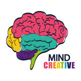 Het denken en hersenenontwerp Stock Afbeelding