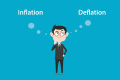 Het denken over het verschil van inflatie versus deflatieillustratie met een witte bellentekst Stock Afbeeldingen