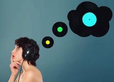 Het denken over muziek Stock Fotografie