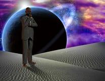 Het denken in surreal woestijn royalty-vrije illustratie