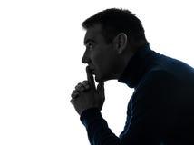 Het denken van de mens ernstig peinzend silhouetportret Royalty-vrije Stock Foto