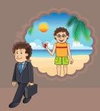 Het denken van de zakenman aan een vakantie bij het strand Stock Afbeelding