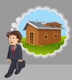 Het denken van de zakenman aan huis Stock Afbeelding
