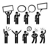 Het Denken van zakenmanbusiness man talking het Schreeuwen Cliparts Royalty-vrije Stock Afbeeldingen