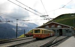 Het depot van de trein van Jungfraubahn in Zwitserland Royalty-vrije Stock Foto