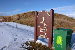 Het derde teken van de T-stukinformatie op golfcursus Royalty-vrije Stock Fotografie