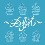 Het dessert van het Cupcakesoverzicht Royalty-vrije Stock Foto
