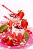 Het dessert van de aardbei en van de vanille Stock Foto's
