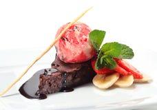 Het Dessert van de chocolade met Roomijs Royalty-vrije Stock Foto's