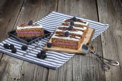 Het dessert van de chocoladebraambes met chocoladespaanders met banketbakkerijforceps royalty-vrije stock afbeelding