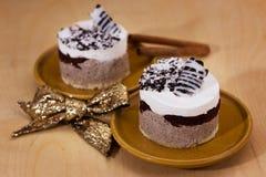 Het dessert van de luxe met Kerstmisdecor Stock Afbeeldingen