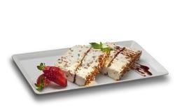 Het dessert van de noga met aardbeien Royalty-vrije Stock Foto