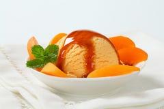 Het dessert van het abrikozenroomijs stock afbeelding