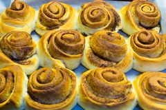 Het dessert van het kaneelbroodje Stock Afbeeldingen