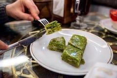 Het dessert van pistachebaklava Stock Foto's
