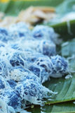 Het dessert van Thailand - banaan, pompoenen, graan, sojabonen, zoete stortplaats Stock Foto