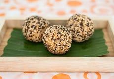Het Dessert van Thailand, Sesamballen Stock Fotografie