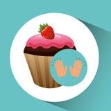 Het dessertconcept van de Cupcakechocolade Stock Fotografie