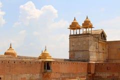 Het detail van Amer of Amber Fort in Jaipur Één van zes Heuvel FO royalty-vrije stock afbeeldingen