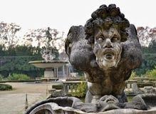 Het detail van het beeldhouwwerkgezicht bij de Fontein van de Oceaan in Boboli-geep royalty-vrije stock foto's