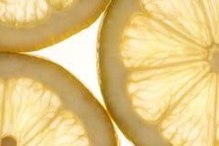 Het detail van citroenplakken Stock Afbeelding