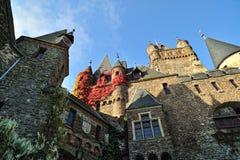 Het detail van de het kasteelarchitectuur van Cochem. De Erfenis van Unesco Stock Afbeeldingen