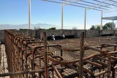 Het detail van de het staalstaaf van de bouw Stock Foto
