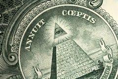 Het detail van de één dollarrekening Stock Fotografie