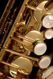Het detail van de saxofoon stock foto's