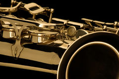 Het detail van de saxofoon Stock Afbeeldingen