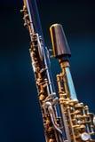 Het detail van de Saxofoon van de Discant van de klarinet Stock Foto's